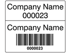 Scanmark dual barcode label (black text), 26mm x 30mm