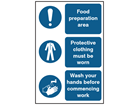 Food preparation area, protective clothing, wash your hands safety sign.