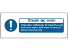 Steaming oven safety label.