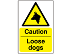 Caution loose dogs safety sign.