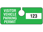 Visitor vehicle parking permit tag, serial numbered