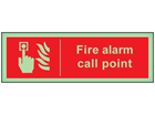 Fire alarm call point photoluminescent safety sign