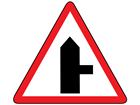 Road junction to the right sign