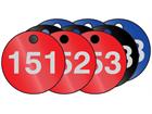 Coloured aluminium valve tags, numbered 151-175