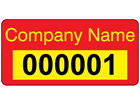 Assetmark+ serial number label (text on colour), 12mm x 25mm