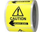 Caution heavy end, arrow left label.