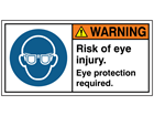 Warning risk of eye injury eye protection required label