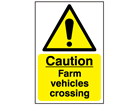 Caution, farm vehicles crossing safety sign.