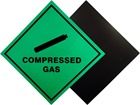 Compressed gas hazard warning diamond label, magnetic