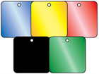 Coloured aluminium tags, 25mm x 25mm