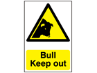 Bull keep out warning sign.