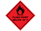 Flash point below 32°F hazard warning diamond sign