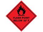 Flash point below 32°F hazard warning diamond sign