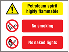 Petroleum spirit highly flammable, No smoking, No naked lights safety sign.