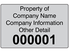 Assetmark+ serial number label (black text), 32mm x 50mm