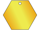 Blank brass hexagonal metal tags.