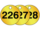 Brass valve tags, numbered 226-250