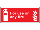 For use on any fire symbol and text safety sign.