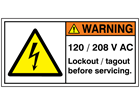 120 / 208 V AC label