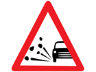 Loose road chippings temporary road sign.