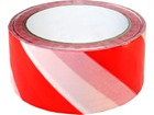 Laminated warning tape, red and white chevron.