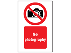 No photography symbol and text safety sign.
