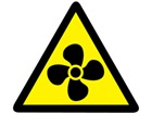 Fan hazard warning symbol label.
