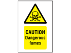 Caution dangerous fumes symbol and text safety sign.
