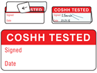 COSHH tested write and seal labels.