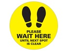 Please wait here until next spot is clear sign