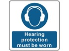 Hearing protection must be worn symbol and text safety label.