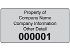 Assetmark foil serial number label (black text), 38mm x 76mm