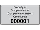 Assetmark foil serial number label (black text), 38mm x 76mm