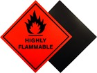 Highly flammable hazard warning diamond label, magnetic