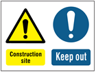 Construction site, keep out safety sign.