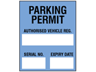 Parking permit label, blue background