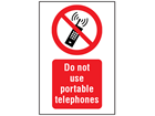 Do not use portable telephones symbol and text safety sign.