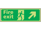 Fire exit arrow up right photoluminescent sign.