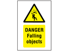 Danger, Falling objects symbol and text safety sign.