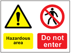 COSHH. Hazardous area, Do not enter sign.