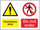 COSHH. Hazardous area, Do not enter sign.