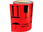 Fragile keep dry (combination of pictograms) shipping label.