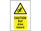 Caution Belt drive hazard symbol and text safety sign.
