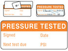 Pressure tested (PSI type) write and seal labels.