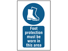 Foot protection must be worn in this area symbol and text safety sign.