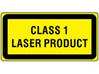 Class 1 laser equipment warning safety label.