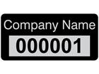 Assetmark foil serial number label (text on colour), 12mm x 25mm