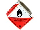 Spontaneously combustible, class 4, hazard diamond label