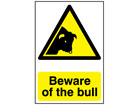 Beware of the bull warning sign.