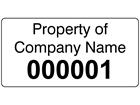 Assetmark tamper evident serial number label (black text), 19mm x 38mm